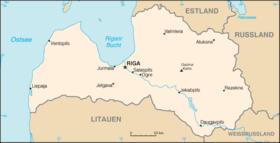 Riga markerat på karta över Lettland