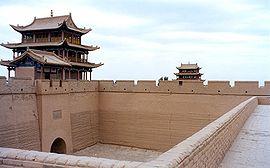 Jiayuguan-fortet i den kinesiska muren.