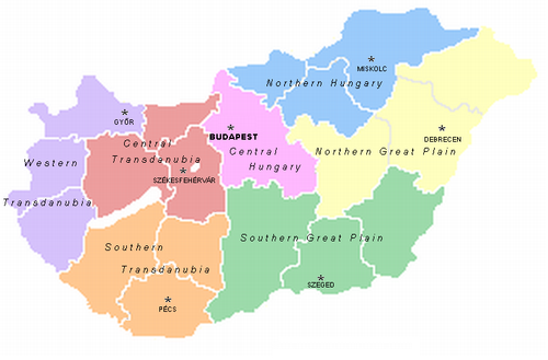 Karta över alla Ungerska regioner