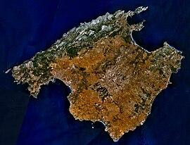Satelitbild över Mallorca.