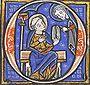Teckning i en medeltida handskrift.