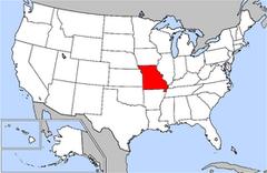 Karta över USA med Missouri markerad