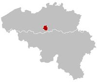 Belgiens provinser med Bryssel i rött