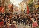 Danska soldater återvänder från Slesvig-Holsteinska kriget 1849. Målning från 1884 av Otto Bache.