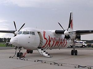 Fokker 50 Skyways at ESMK.JPG