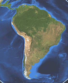 En sammansatt satellitbild av Sydamerika