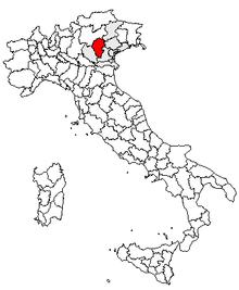 Karta över Italien, med Vicenza (provins) markerat
