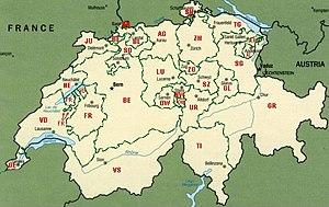 Karta över Schweiz kantoner.