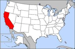 Karta över USA med Kalifornien markerad