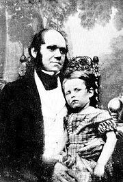 Darwin 1842 med sin äldste son, William Erasmus Darwin