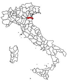 Karta över Italien, med Rovigo (provins) markerat