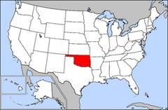 Karta över USA med Oklahoma markerad