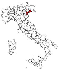 Karta över Italien, med Venedig (provins) markerat