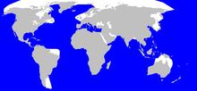 Kaskelotens utbredningsområde (blått)