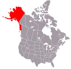 Karta över USA med Alaska markerad
