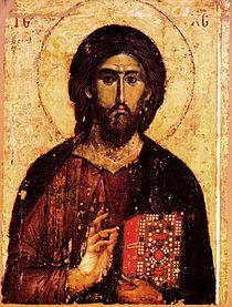 Jesus Kristus framställd på en grekisk ikon av Pantokrator-typ