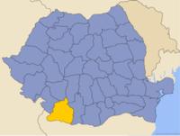 Administrativ karta över Rumänien med distriktet Dolj utsatt