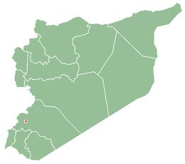 Damaskus läge i Syrien (röd markerad)