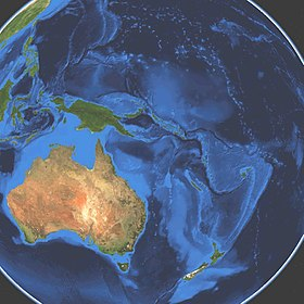 Satellitbild över Oceanien