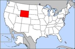 Karta över USA med Wyoming markerad