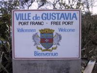 Skylt vid Saint Barthélemys huvudstad Gusavias stadsgräns.