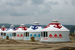 Mongoliska jurtor i Inre Mongoliet.