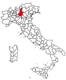 Karta över Italien, med Brescia (provins) markerat