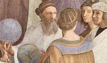 Zarathustra (till vänster), detalj ur Skolan i Aten av Raphael