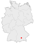 Tyskland med München markerat