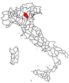 Karta över Italien, med Verona (provins) markerat