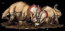 Centrosaurier stångas i en lerpöl.