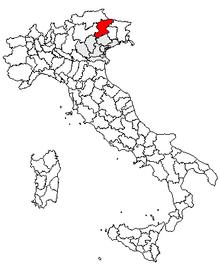 Karta över Italien, med Belluno (provins) markerat
