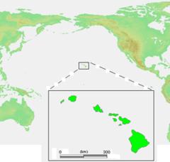Karta över USA med Hawaii markerad