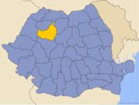 Administrativ karta över Rumänien med distriktet Cluj utsatt